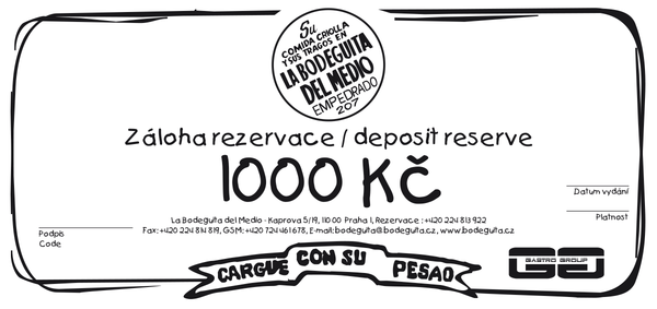 Reservation deposit of CZK 1000