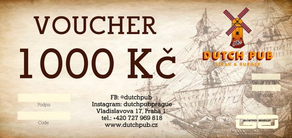 Dutch Pub gift voucher 800 CZK