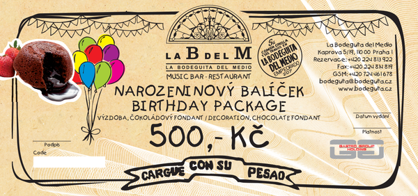 Birthday package LaBdelM 500 CZK
