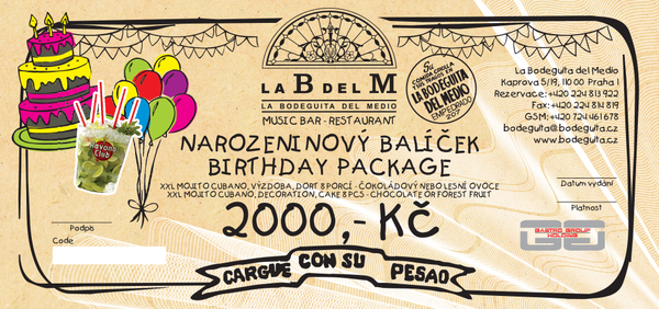 Birthday package LaBdelM 2000 CZK